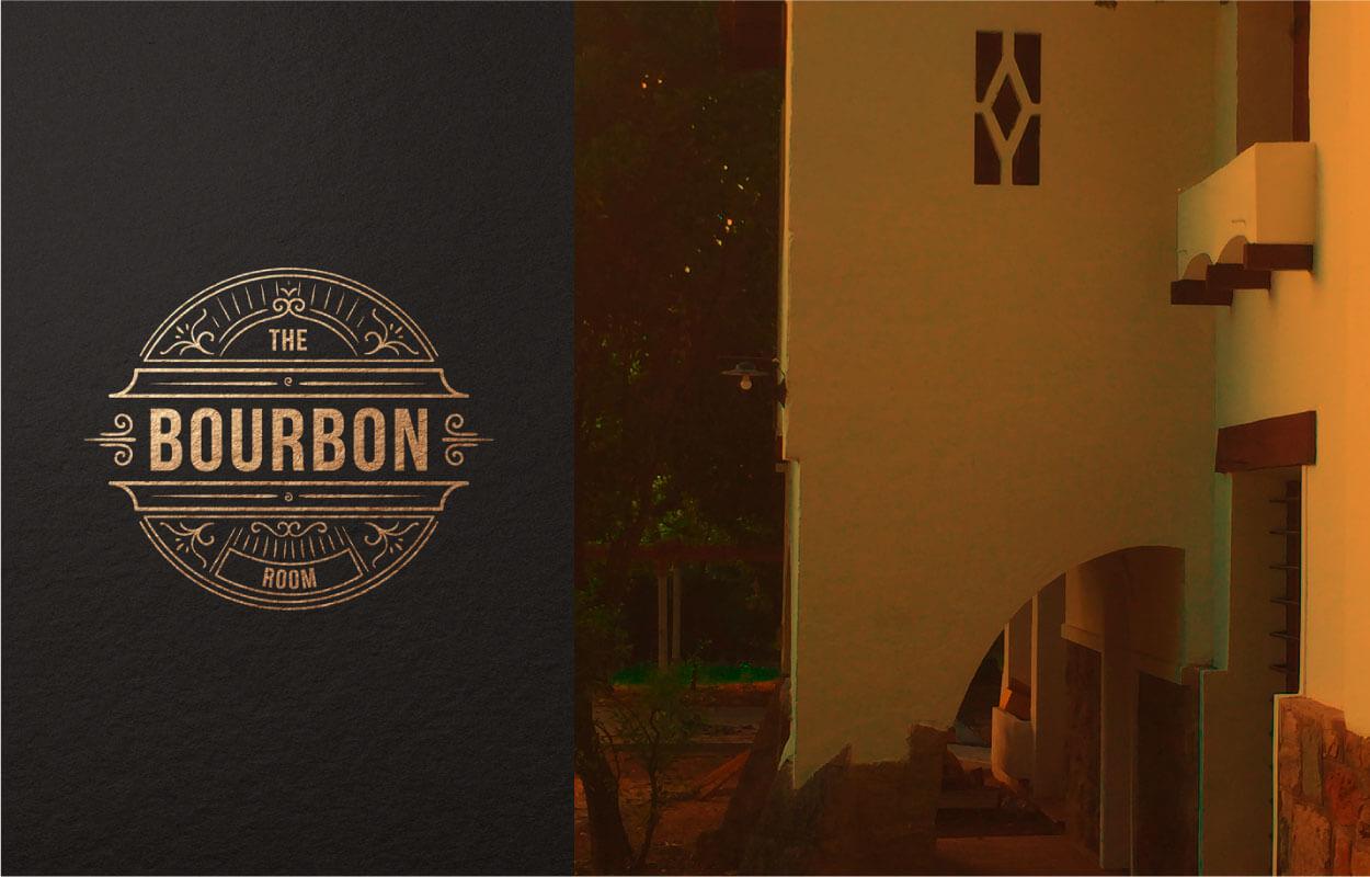 Aplicación de marca The Bourbon Room en pared